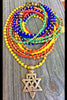 Custom Long Colorful African Glass Seed Bead & Star of David Necklace