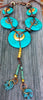 Custom Turquoise Disc, Gold Coin and Verdigris Charm Tassel Necklace