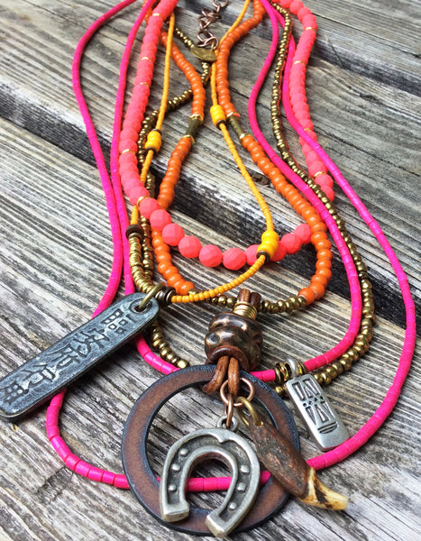 Orange and Pink Tribal Style Long Layered Pendant Necklace