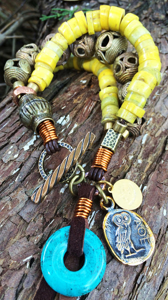 Exotic Tribal-Style Chunky Yellow and Brass Charm Bracelet