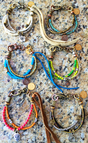 Mixed variety of colorful and fun friendship charm bracelets