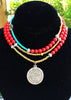 Long Bohemian Red Coral, Turquoise & Silver Medallion Pendant Necklace