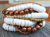 White Puka Shell, Turquoise and African Copper Statement Cuff Bracelet