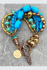 Turquoise and Gold Multi-Strand Artisan Statement Bracelet