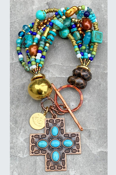 Beautiful Turquoise Blues, Green, Gold and Copper Cross Charm Bracelet