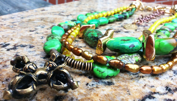 Green Turquoise, Gold Pearl and Tibetan Bronze Dorje Pendant Necklace