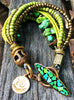 Natural Green Turquoise, Gold and Vintage Bronze Multi-Strand Bracelet