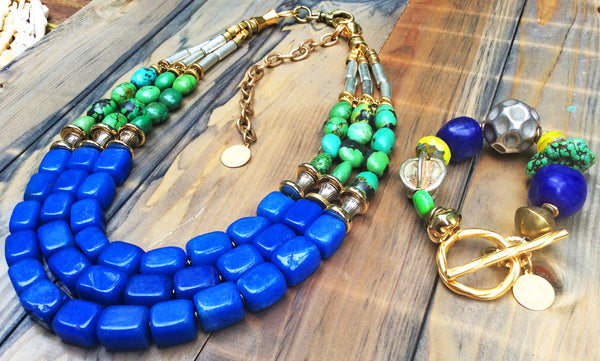 Bold Cobalt Blue Jade and Green Turquoise Statement Jewelry