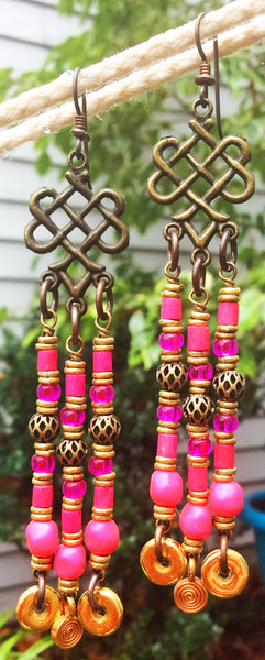 Stunning Pink, Brass and Gold Chandelier Statement Earrings