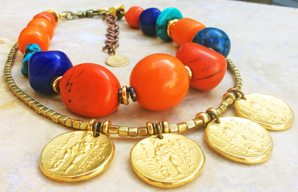 Bold Moroccan Inspired Orange, Turquoise, Blue and Gold Coin Necklace