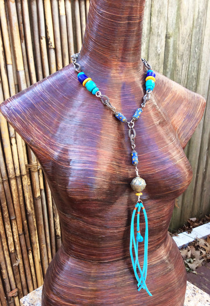 Sterling Silver, Cobalt Blue and Turquoise Leather Fringe Necklace
