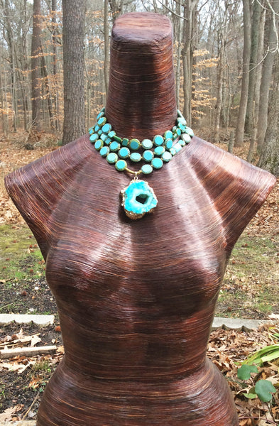 Turquoise Blue Glass and Druzy Agate Pendant Choker Necklace