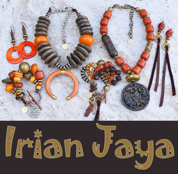 exotic and bold tribal style earthy amber, rust and gray Irian Jaya jewelry collection