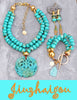 Stunning Blue Turquoise Bone and Chinese Carved Dragon Statement Jewelry