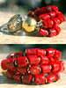 Designer Chunky Red Coral and Gold Statement Bracelet