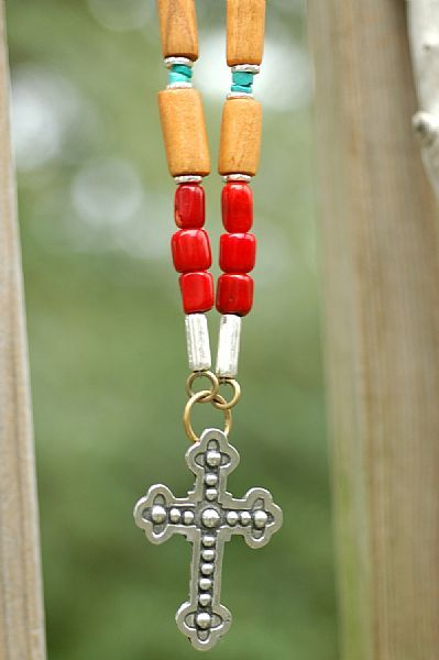 Mexican-Inspired Coral Turquoise Wood & Silver Cross Pendant Necklace
