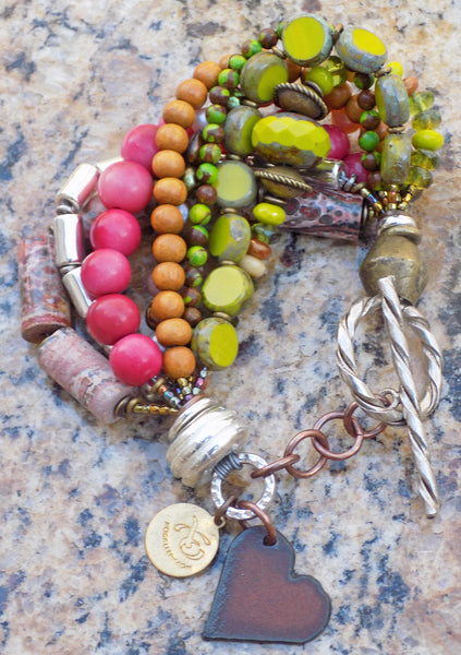 Pink, Green and Brown Heart Charm Bracelet