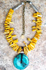 Custom Yellow Magnesite Fringe and Turquoise Disc Pendant Necklace