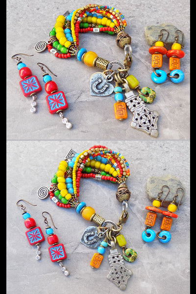 Fun Bohemian Colorful Charm Bracelet with Funky Dangle Earrings