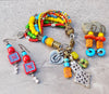 Exotic Soulful and Colorful Bohemian Charm Bracelet & Earrings
