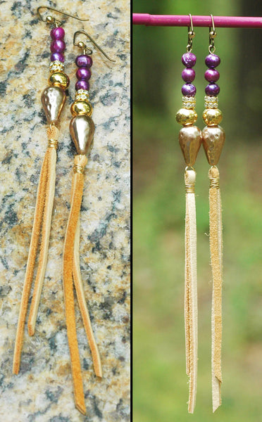 Elegant Purple Baroque Pearl and Leather Boho Chic Fringe Earrings