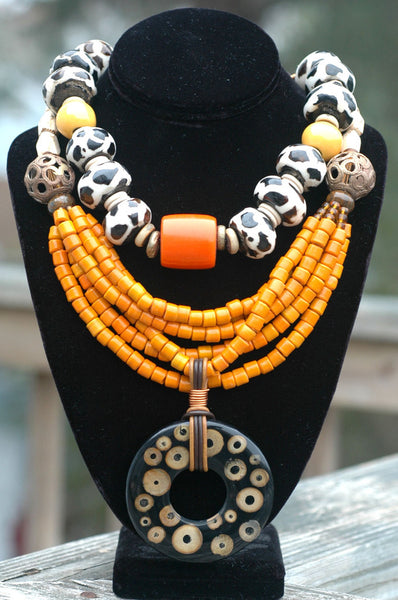 Giraffe Print Bone, Orange Resin and Yellow Terra Cotta Necklace