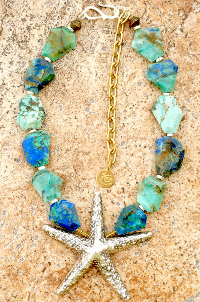 Blue Chrysocolla Malachite and Thai Silver Starfish Necklace
