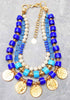 Greek inspired cobalt blue glass and gold coin necklace