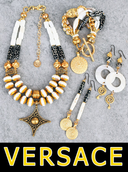 Elegant Versace Style White, Black and Gold Jewelry Collection