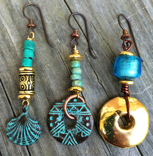 Turquoise, Blue and Gold Sea-Inspired Artisan Earrings
