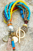 Blue, Orange and Yellow Mixed Media Artisan Charm Bracelet