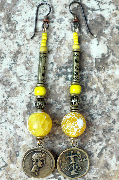 Faceted Yellow Agate, Glass and Bronze Coin Dangle Statement Earrings