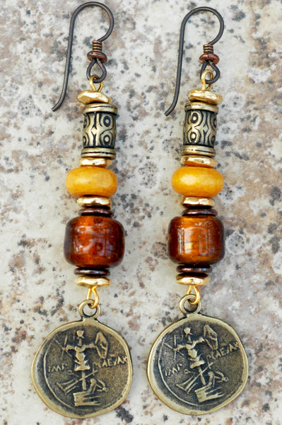 Amber, Gold and Bronze Coin Dangle Artisan Earrings