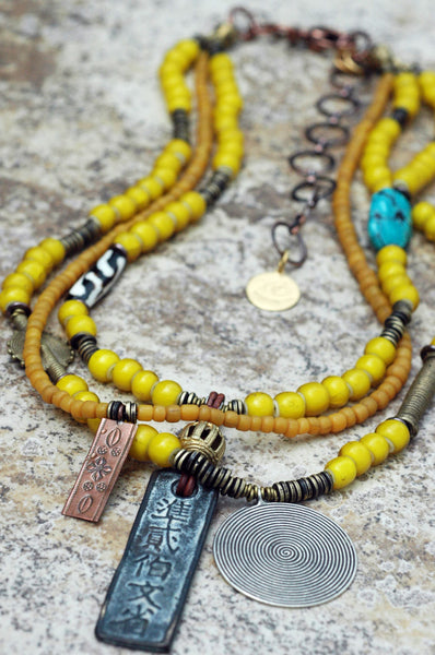 African Inspired Tribal Yellow Glass and Mixed Media Pendant Necklace