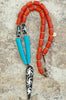 Long Amber, Turquoise, Leather & Batik Bone Arrowhead Tribal Necklace