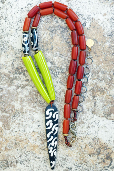 Long Amber, Lime, Leather and Batik Bone Arrowhead Tribal Necklace