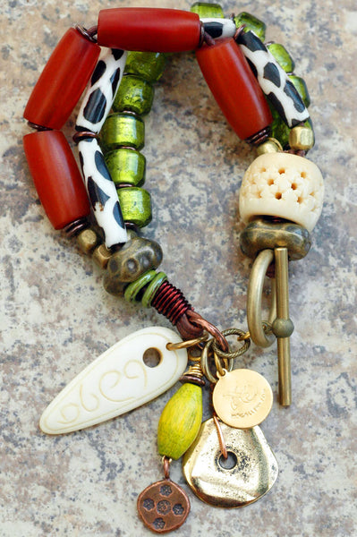 Exotic Amber, Giraffe Print, Lime, Bone & Mixed Metals Charm Bracelet