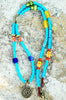 Long African Turquoise Blue Glass and Spiral Pendant Tribal Necklace