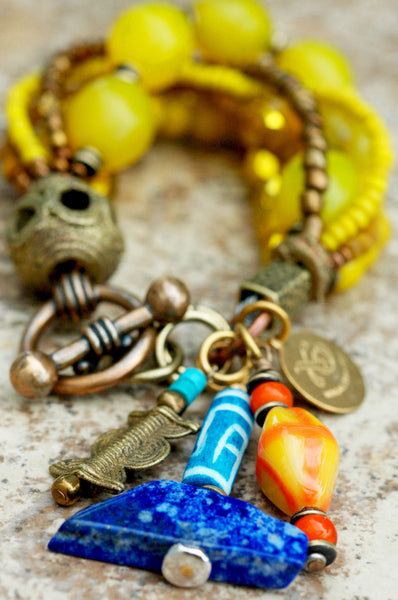 Exotic African Inspired Yellow Mixed Media Charm Bracelet