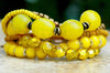 Exotic African Inspired Yellow Mixed Media Charm Statement Bracelet