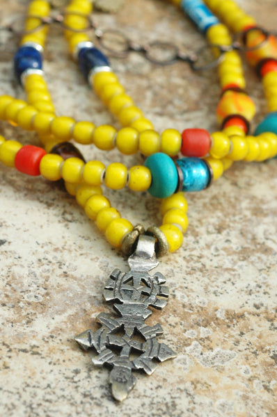 Long African Inspired Yellow Glass Ethiopian Cross Pendant Necklace