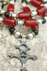 Burgundy Red, Black, Silver and African Brass Tuareg Cross Long Necklace