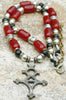 Burgundy Red, Black, Silver & African Brass Tuareg Cross Long Necklace