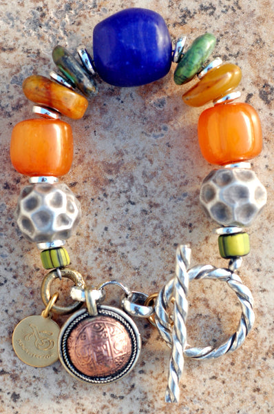 Moroccan-Inspired Silver, Amber, Turquoise & Cobalt Statement Bracelet