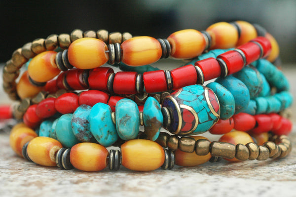 Tibetan-Inspired Turquoise, Yellow, Red and Bronze Charm Bracelet