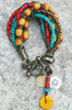 Tibetan-Inspired Turquoise, Yellow, Red and Bronze Boho Charm Bracelet