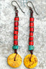 Tibetan-Inspired Turquoise, Red Glass and Yellow Disc Dangle Earrings