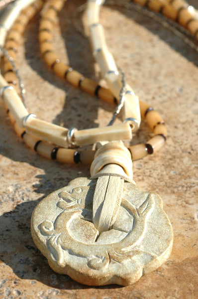 Long Multi-Strand White Bone & Silver Carved Stone Medallion Necklace