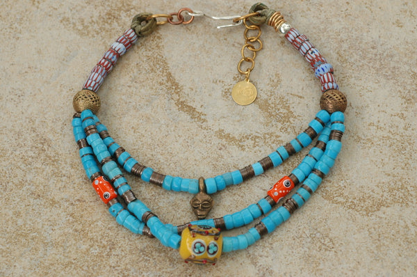 African-Inspired Blue Glass Trade Bead and Brass Mask Tribal Necklace