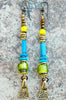 Funky Green Glass, Turquoise, Yellow and Brass Charm Dangle Earrings